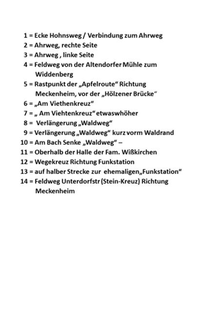 """Legende zu """"Karte mit Sitzbänken in Altendorf-Ersdorf"""""""